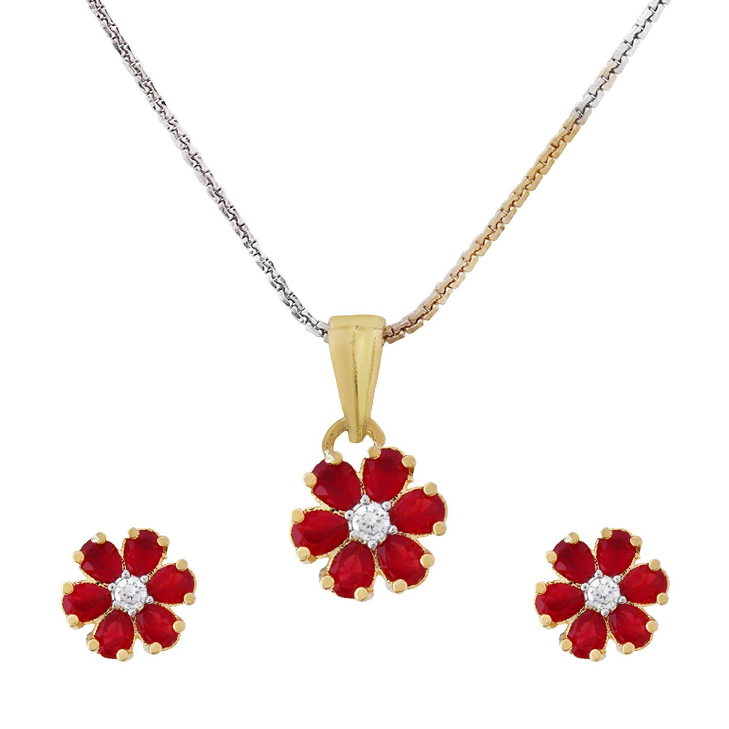 c99327a7336 Ankur elegant gold and rhodium plated american diamond red flower shape  combo pendant set for women